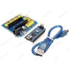 Arduino Nano V3.0 CH340 clone + scheda espansione I/O + cavo mini USB