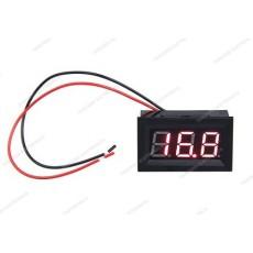 Voltmetro digitale da pannello per misure in corrente continua con display rosso. Portata 0 - 100V