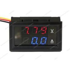 Voltmetro e amperometro digitale da pannello con display rosso/blu. Portata massima 100V - 50A
