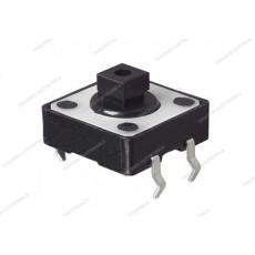 Micropulsante da circuito stampato con tasto nero - 12x12mm altezza 7,3mm - 12Vcc 50mA - confezione da 10pz