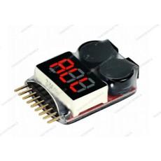 Tester per pacchi batteria LiPo 1-8s con avvisatore acustico