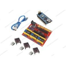 CNC shield V4 + 3 driver DRV8825 con dissipatore + Arduino NANO V3.0 CH340 clone + cavo mini USB