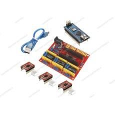 CNC shield V4 + 3 driver A4988 con dissipatore + Arduino NANO V3.0 CH340 clone + cavo mini USB