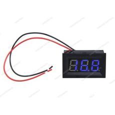 Voltmetro digitale da pannello per misure in corrente continua con display blu. Portata 0 - 100V