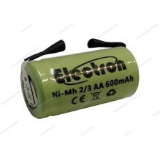 Batteria Ni-Mh 2/3 AA 1,2V 600mAh con terminali a saldare