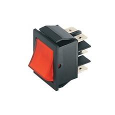 Deviatore a bilanciere bipolare a 2 posizioni con tasto rosso - 250V 15A - 125V 20A