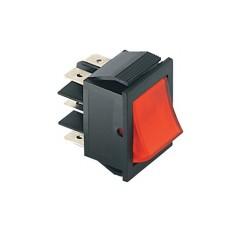 Deviatore a bilanciere bipolare luminoso a 2 posizioni con tasto rosso - 250V 15A - 125V 20A