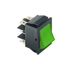 Deviatore a bilanciere bipolare luminoso a 2 posizioni con tasto verde - 250V 15A - 125V 20A