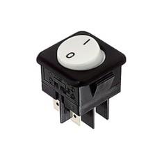 Deviatore a bilanciere bipolare a 2 posizioni con tasto bianco rotondo - 250V 16A