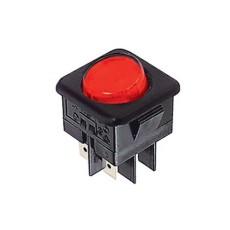 Deviatore a bilanciere bipolare luminoso a 2 posizioni con tasto rosso rotondo - 250V 16A