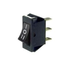 Deviatore a bilanciere unipolare a 3 posizioni con tasto nero - 250V 16A