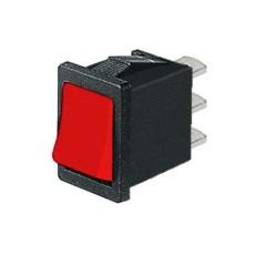 Deviatore a bilanciere unipolare in miniatura a 2 posizioni con tasto rosso - 250V 6A - 125V 10A