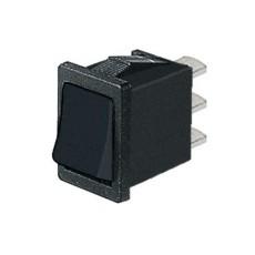 Deviatore a bilanciere unipolare in miniatura a 2 posizioni con tasto nero - 250V 6A - 125V 10A