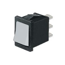 Deviatore a bilanciere unipolare in miniatura a 2 posizioni con tasto bianco - 250V 6A - 125V 10A