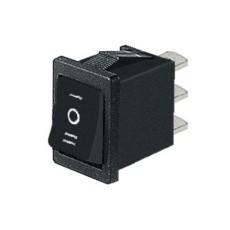 Deviatore a bilanciere unipolare in miniatura a 3 posizioni con tasto nero - 250V 6A - 125V 10A