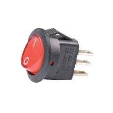 Deviatore a bilanciere unipolare in miniatura luminoso a 2 posizioni con tasto rosso rotondo - 250V 3A - 125V 6A