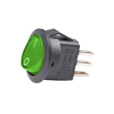 Deviatore a bilanciere unipolare in miniatura luminoso a 2 posizioni con tasto verde rotondo - 250V 3A - 125V 6A