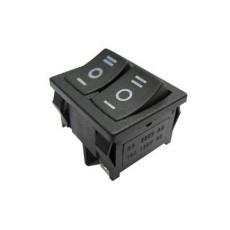 Deviatore a bilanciere unipolare in miniatura doppio a 2 posizioni con tasto nero - 250V 10A