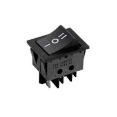 Deviatore a bilanciere bipolare a 3 posizioni con tasto nero - 250V 16A
