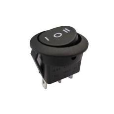 Deviatore a bilanciere unipolare a 3 posizioni con tasto nero rotondo - 250V 10A