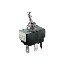 Deviatore a leva 1 scambio 2 posizioni ON-ON in materiale termoplastico con terminali faston 6,35mm - 250V 10A - 125V 15A