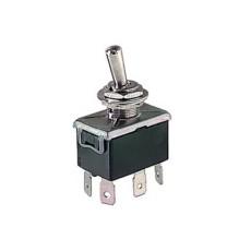 Deviatore a leva 2 scambi 2 posizioni ON-ON in materiale termoplastico con terminali faston 6,35mm - 250V 10A - 125V 15A