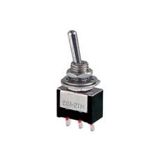 Deviatore a leva in miniatura 1 scambio 2 posizioni MOM-OFF con autoritorno in materiale termoplastico da circuito stampato - 250V 3A - 125V 6A