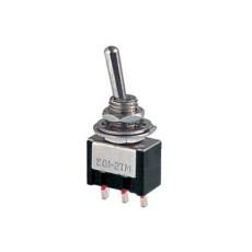 Deviatore a leva in miniatura 1 scambio 2 posizioni ON-ON in materiale termoplastico con terminali a saldare - 250V 3A - 125V 6A