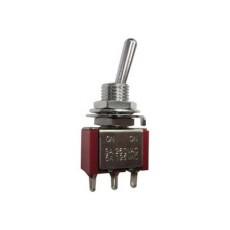 Deviatore a leva in miniatura 1 scambio 3 posizioni ON-OFF-ON in nylon con terminali a saldare - 250V 1,5A - 125V 3A