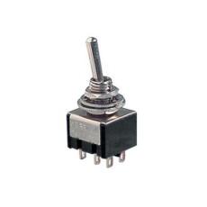 Deviatore a leva in miniatura 2 scambi 2 posizioni ON-ON in materiale termoplastico con terminali a saldare - 250V 3A - 125V 6A