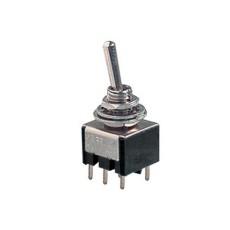 Deviatore a leva in miniatura 2 scambi 2 posizioni ON-ON in materiale termoplastico da circuito stampato - 250V 3A - 125V 6A