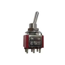 Deviatore a leva in miniatura 2 scambi 3 posizioni ON-OFF-ON in nylon con terminali a saldare - 250V 1,5A - 125V 3A