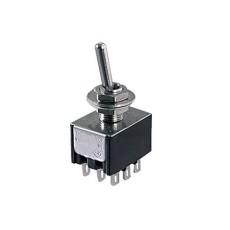 Deviatore a leva in miniatura 3 scambi 2 posizioni ON-ON in materiale termoplastico con terminali a saldare - 28V 6A