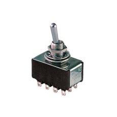 Deviatore a leva in miniatura 4 scambi 2 posizioni ON-ON in materiale termoplastico con terminali a saldare - 28V 6A