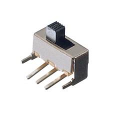 Deviatore a slitta unipolare a 2 posizioni da circuito stampato a 90° - 30Vcc 0,5A