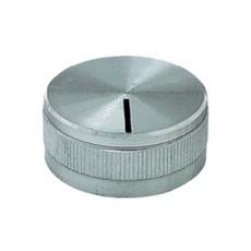 Manopola grigia in alluminio con indice e con bloccaggio a vite per perni da 6mm - diametro 27.5mm