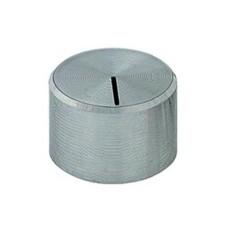 Manopola grigia in alluminio con indice e con bloccaggio a vite per perni da 6mm - diametro 27,5mm