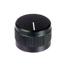 Manopola nera in alluminio con indice e con bloccaggio a vite per perni da 6mm - diametro 18,5mm