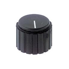 Manopola nera in pvc con indice e con bloccaggio a vite per perni da 6mm - diametro 25mm
