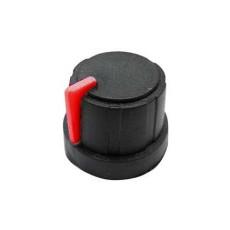 Manopola nera in gomma morbida e bloccaggio a pressione per perni da 6mm - diametro 21mm - indice rosso