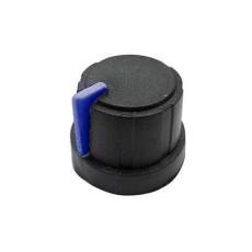Manopola nera in gomma morbida e bloccaggio a pressione per perni da 6mm - diametro 21mm - indice blu