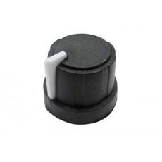 Manopola nera in gomma morbida e bloccaggio a pressione per perni da 6mm - diametro 21mm - indice bianco