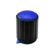 Manopola componibile per perni 6mm con fissaggio a vite con indice e cappuccio - diametro 15mm - blu