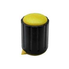 Manopola componibile per perni 6mm con fissaggio a vite con indice e cappuccio - diametro 15mm - giallo