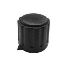 Manopola componibile per perni 6mm con fissaggio a mandrino con indice e cappuccio - diametro 22mm - nero