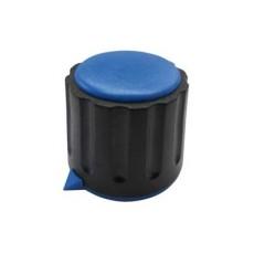 Manopola componibile per perni 6mm con fissaggio a mandrino con indice e cappuccio - diametro 22mm - blu