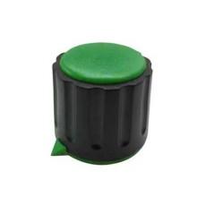 Manopola componibile per perni 6mm con fissaggio a mandrino con indice e cappuccio - diametro 22mm - verde