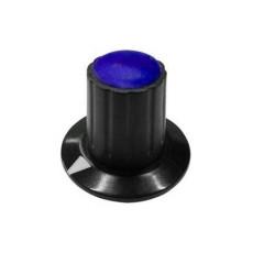 Manopola componibile per perni 6mm con fissaggio a mandrino con indice e cappuccio - diametro 26mm - blu