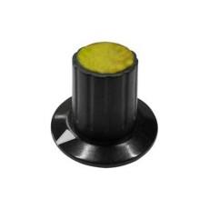 Manopola componibile per perni 6mm con fissaggio a mandrino con indice e cappuccio - diametro 26mm - giallo