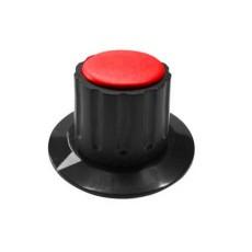 Manopola componibile per perni 6mm con fissaggio a mandrino con indice e cappuccio - diametro 36mm - rosso